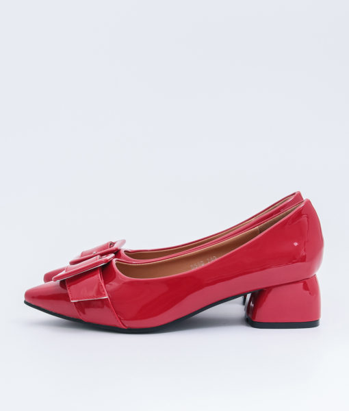 AnnaKastle Womens Big Buckle Patent Pointed Toe Pumps Red