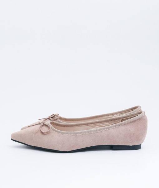 AnnaKastle Womens Cute Bow Pointed Toe Ballerina Flats Beige