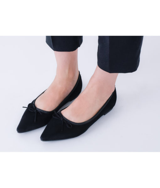 AnnaKastle Womens Cute Bow Pointed Toe Ballerina Flats Black