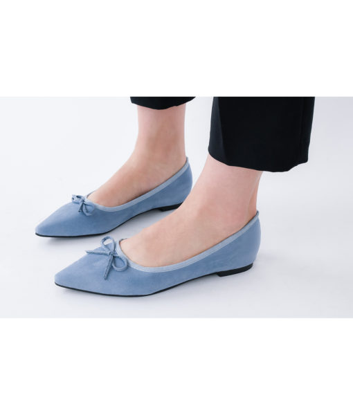 AnnaKastle Womens Cute Bow Pointed Toe Ballerina Flats Blue