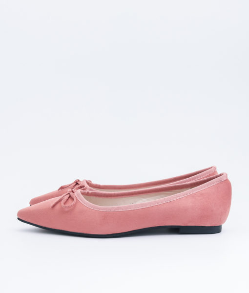 AnnaKastle Womens Cute Bow Pointed Toe Ballerina Flats Pink