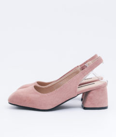 AnnaKastle Womens Vegan Suede Square Toe Slingback Pumps Pink