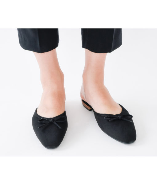 AnnaKastle Womens Bow Front Pointed Toe Mule Slippers Black