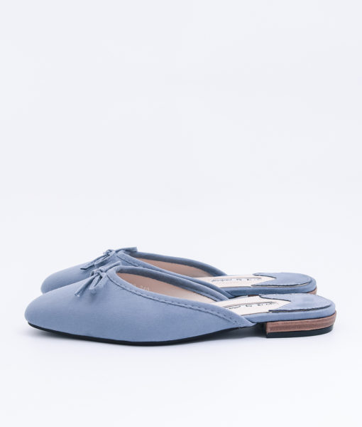 AnnaKastle Womens Bow Front Pointed Toe Mule Slippers Blue