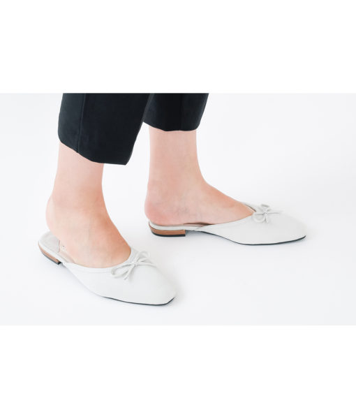 AnnaKastle Womens Bow Front Pointed Toe Mule Slippers Light Gray