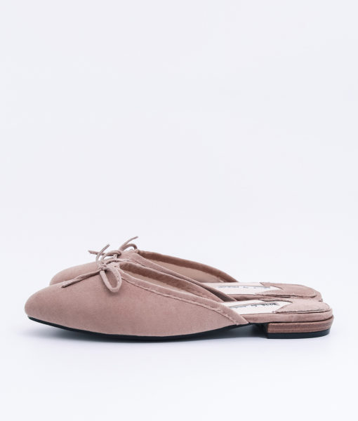 AnnaKastle Womens Bow Front Pointed Toe Mule Slippers Pale Brown