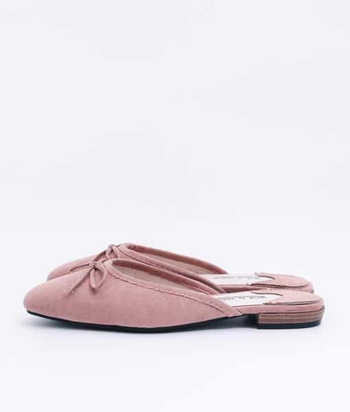 AnnaKastle Womens Bow Front Pointed Toe Mule Slippers Pink