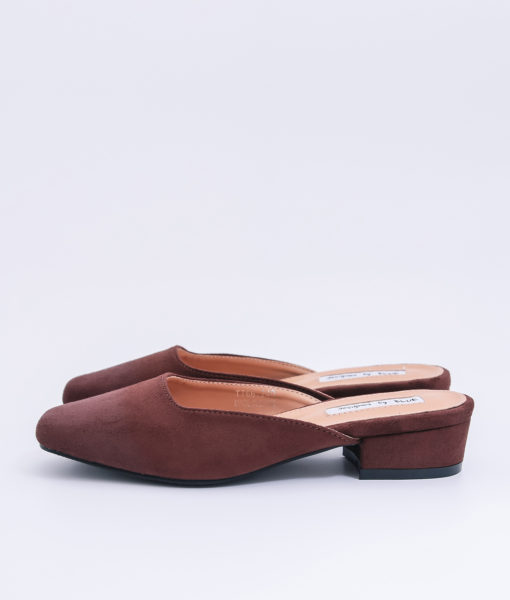 AnnaKastle Womens Vegan Suede Square Toe Mule Slippers Brown