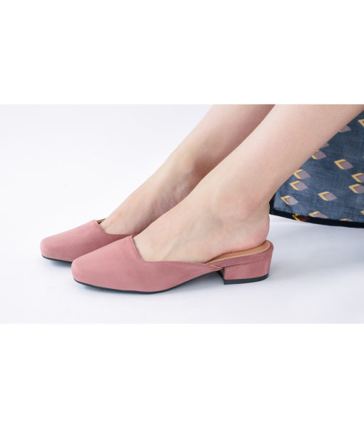 AnnaKastle Womens Vegan Suede Square Toe Mule Slippers Pink