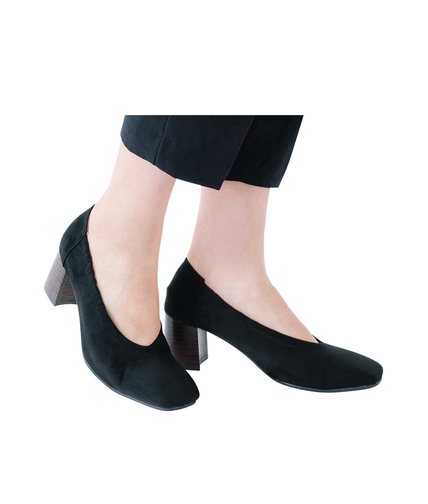 AnnaKastle Womens Block Heel Elastic Suede Pumps Black