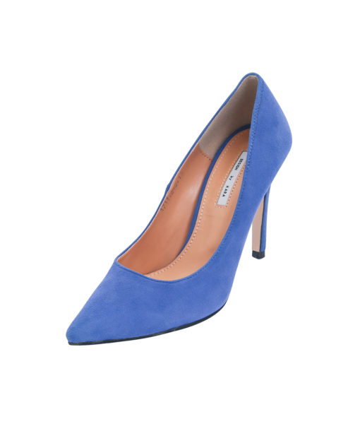 AnnaKastle Womens Pointy Toe High Heel Court Shoes Blue