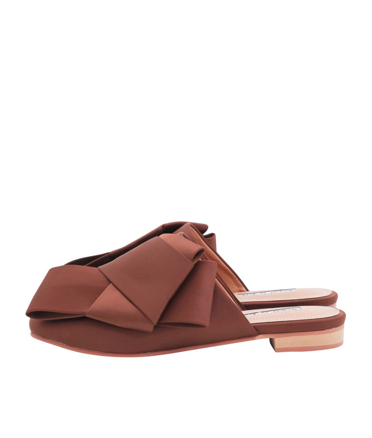 AnnaKastle Womens Satin Bow Mule Flats Brown