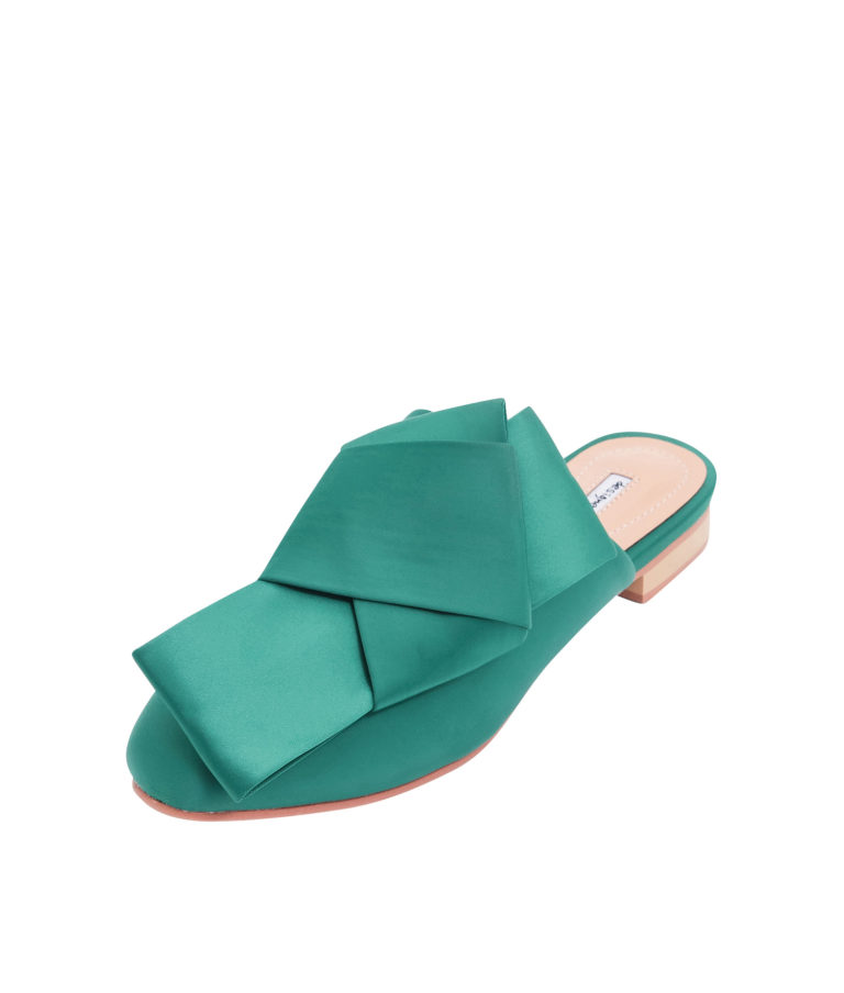 AnnaKastle Womens Satin Bow Mule Flats Green