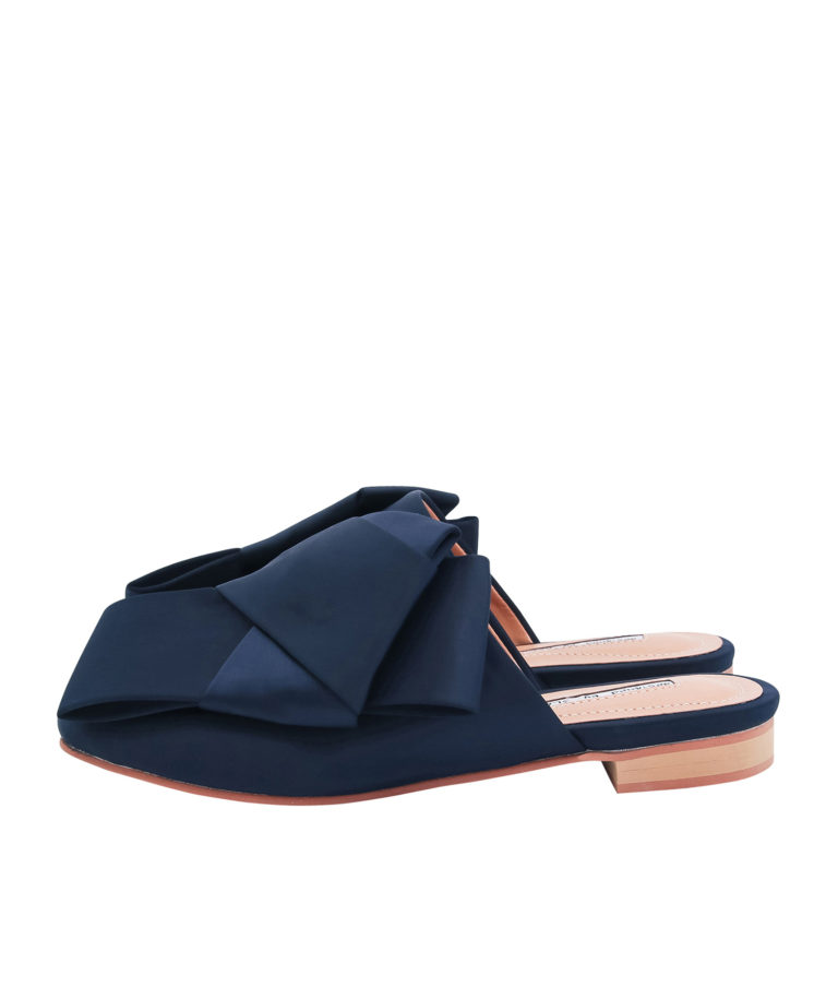 AnnaKastle Womens Satin Bow Mule Flats Navy