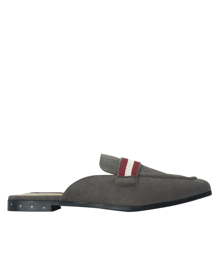 AnnaKastle Womens Striped Web Strap Mule Loafers Charcoal