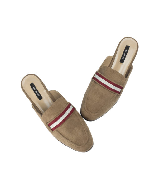 AnnaKastle Womens Striped Web Strap Mule Loafers Copper