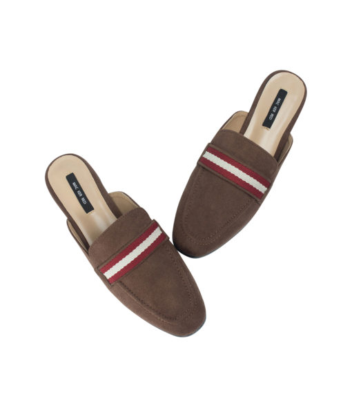 AnnaKastle Womens Striped Web Strap Mule Loafers DarkBrown