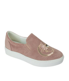 AnnaKastle Womens Moon Sun Star Gold Sequin Slip On Sneakers Ruddy Pink