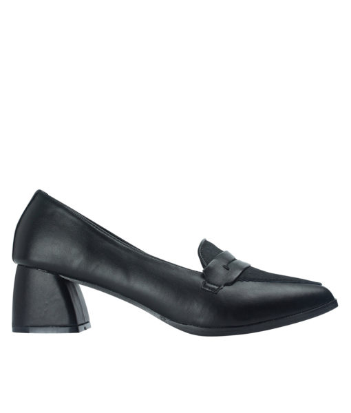 AnnaKastle Womens Black Calf Hair Penny Loafer Pumps