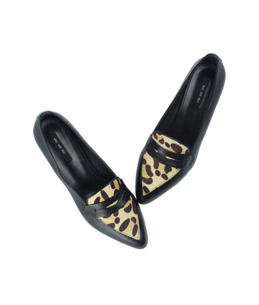 AnnaKastle Womens Leopard Calf Hair Penny Loafer Pumps