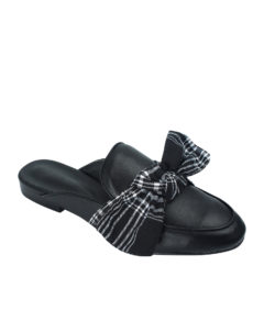 AnnaKastle Womens Tartan Bow Backless Loafers Black