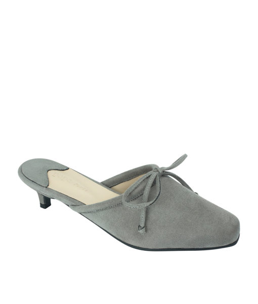 AnnaKastle Womens Vegan Suede Bow Kitten Heel Mules Gray