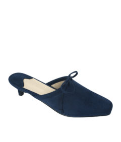 AnnaKastle Womens Vegan Suede Bow Kitten Heel Mules Navy