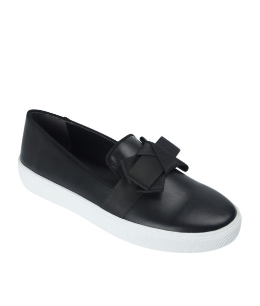AnnaKastle Womens Ribbon Slip On Sneakers Black