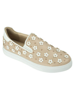 AnnaKastle Womens Daisy Flower Slip On Sneakers Beige