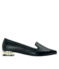 AnnaKastle Womens Pearl Heel Smoking Slippers Black Leather