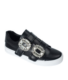AnnaKastle Womens Crystal Buckle Double Strap Sneakers Black
