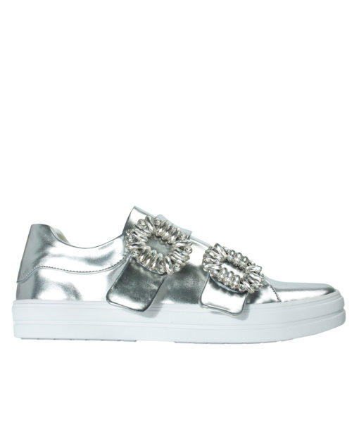 AnnaKastle Womens Crystal Buckle Double Strap Sneakers Silver