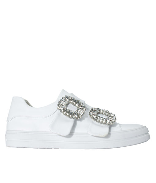 AnnaKastle Womens Crystal Buckle Double Strap Sneakers White