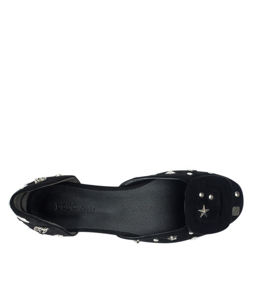 AnnaKastle Womens Covered Buckle Vegan Suede D'orsay Flats Black