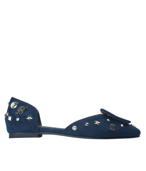 AnnaKastle Womens Covered Buckle Vegan Suede D'orsay Flats Navy