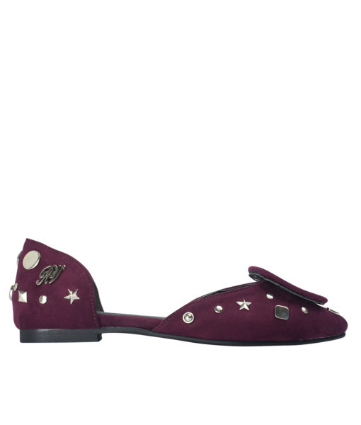 AnnaKastle Womens Covered Buckle Vegan Suede D'orsay Flats Wine