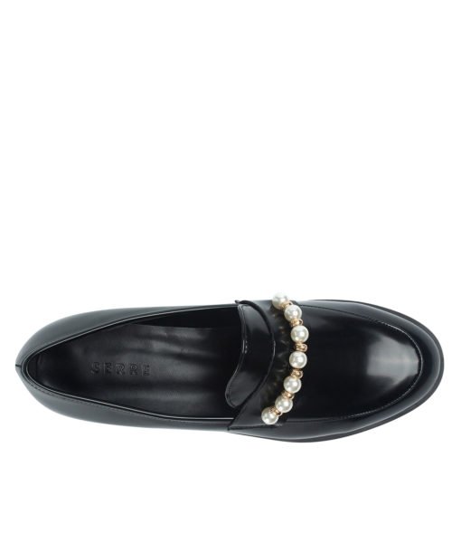 AnnaKastle Womens Moc Toe Classic Pearl Loafers Black