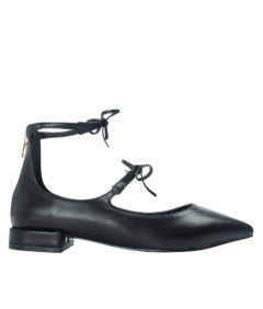 AnnaKastle Womens Bow Ankle Strap Mary Jane Flats Black