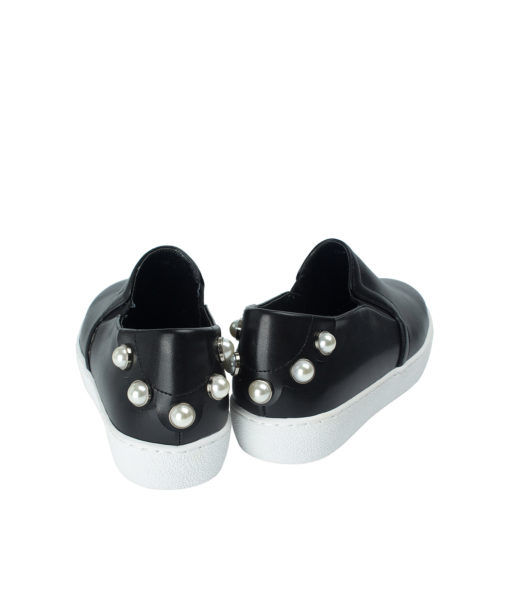 AnnaKastle Womens Pearl Studs Slip On Sneakers Black