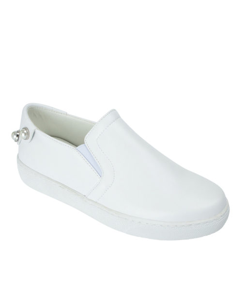 AnnaKastle Womens Pearl Studs Slip On Sneakers White