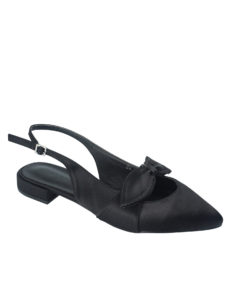 AnnaKastle Womens Satin Bow Black Slingback Flats