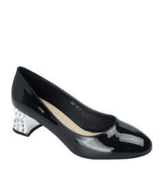 AnnaKastle Womens Patent Crystal Heel Pumps Black