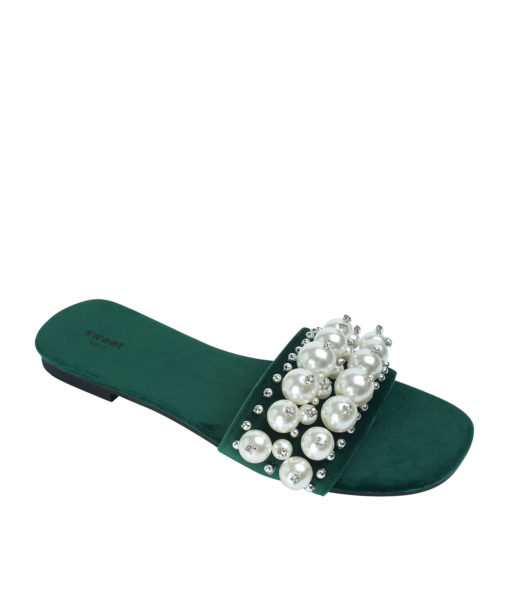 AnnaKastle Womens Faux Pearl Studded Slide Sandals Dark Green