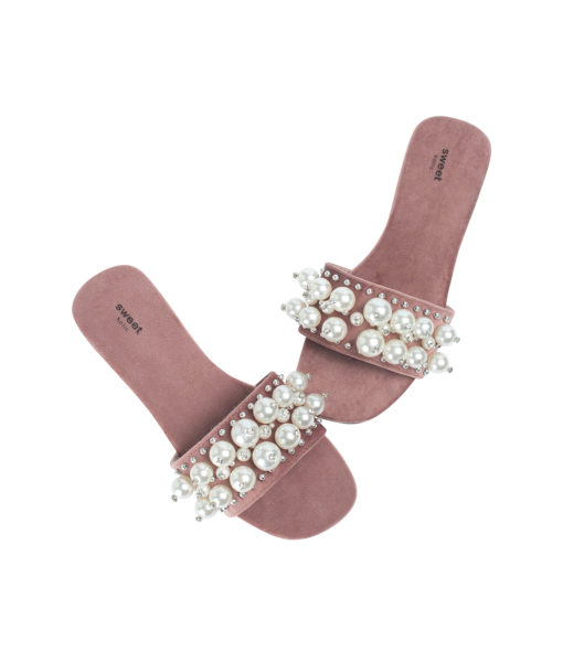 AnnaKastle Womens Faux Pearl Studded Slide Sandals Ruddy Pink