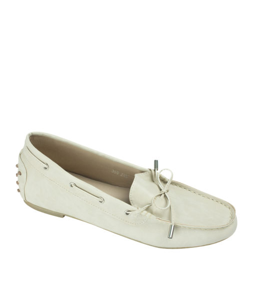 AnnaKastle Womens Vegan Leather Driving Moc Loafers Beige