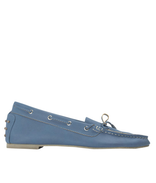 AnnaKastle Womens Vegan Leather Driving Moc Loafers Pale Blue