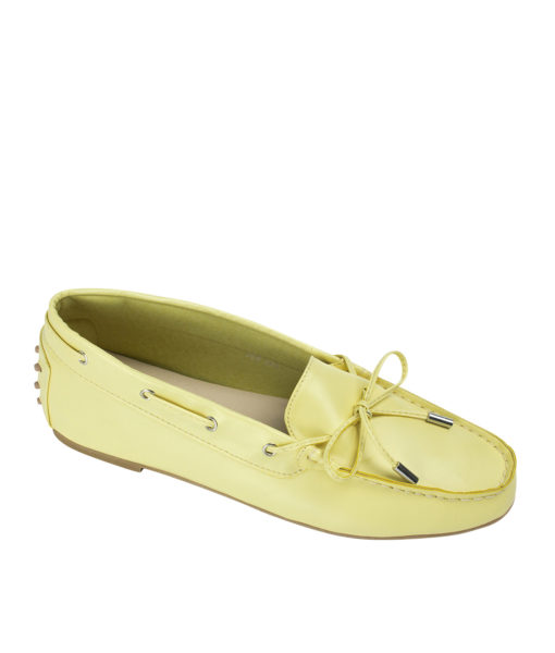 AnnaKastle Womens Vegan Leather Driving Moc Loafers Yellow