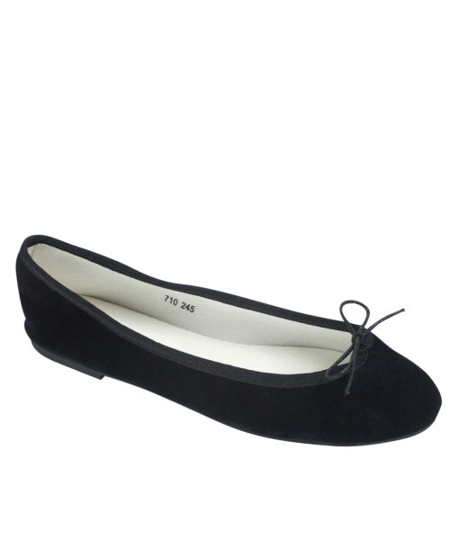 AnnaKastle Womens Vegan Suede Bow Front Ballet Flats Black