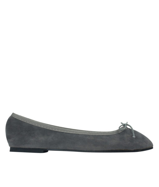 AnnaKastle Womens Vegan Suede Bow Front Ballet Flats Charcoal