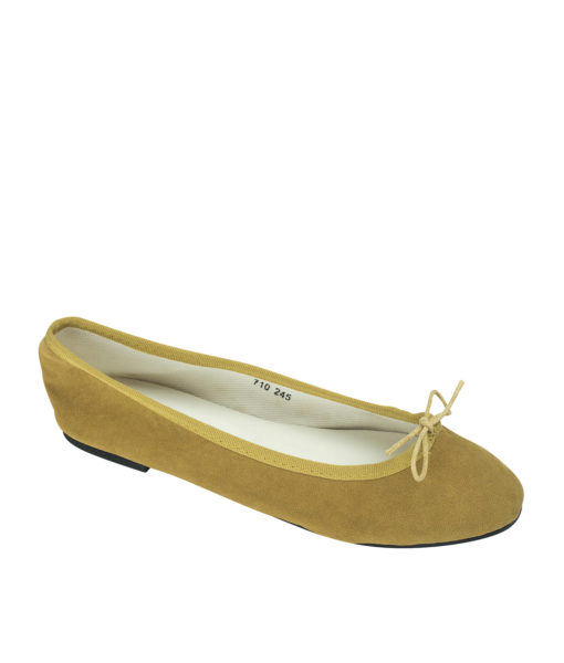 AnnaKastle Womens Vegan Suede Bow Front Ballet Flats Mustard